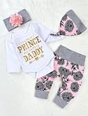 זול סטים של ביגוד לתינוקות-סט של בגדים כותנה שרוול ארוך דפוס דפוס בסיסי בנות תִינוֹק / פעוטות