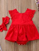 Χαμηλού Κόστους Βρεφικά φορέματα-Μωρό Κοριτσίστικα Ενεργό Μονόχρωμο Αμάνικο Βαμβάκι / Spandex Φόρεμα Ρουμπίνι