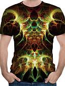 hesapli Erkek Tişörtleri ve Atletleri-Erkek Yuvarlak Yaka Tişört Desen, 3D AB / ABD Beden Yonca