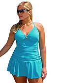 cheap Tankinis-Women's Black Light Blue One-piece Swimwear - Solid Colored XXL XXXL XXXXL Black