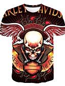 hesapli Erkek Tişörtleri ve Atletleri-Erkek Yuvarlak Yaka Tişört Desen, 3D / Kuru Kafalar Abartılı Büyük Bedenler Siyah XXXXL / Kısa Kollu
