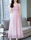 abordables Robes Femme-Femme Midi Mousseline de Soie Robe Rose Claire L XL XXL Sans Manches