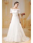 baratos Vestidos de Casamento-Linha A Ombro a Ombro Cauda Capela Renda / Tule Vestidos de casamento feitos à medida com Laço(s) / Renda / Fitas e Laços de ANGELAG