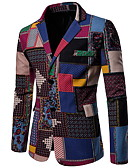 cheap Men's Blazers & Suits-Men's Blazer, Color Block Notch Lapel Polyester Rainbow XXL / XXXL / XXXXL