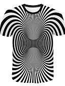 abordables Camisetas y Tops de Hombre-Hombre Talla EU / US Camiseta, Escote Redondo Delgado A Rayas / 3D Blanco XXL