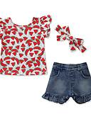 זול חולצות לתינוקות-סט של בגדים כותנה ללא שרוולים דפוס פירות פעיל / בסיסי בנות תִינוֹק / פעוטות