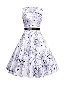 זול שמלות ערב-עד הברך פפיון דפוס, פרחוני - שמלה גזרת A נדן סווינג וינטאג' אלגנטית בגדי ריקוד נשים