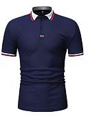 お買い得  メンズポロシャツ-男性用 パッチワーク EU / USサイズ Polo シャツカラー カラーブロック コットン ホワイト L
