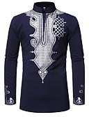 abordables Chemises Homme-Chemise Taille EU / US Homme, Tribal - Coton Imprimé Col Arrondi Noir L