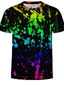 Χαμηλού Κόστους Ανδρικά μπλουζάκια και φανελάκια-Ανδρικά Μέγεθος EU / US T-shirt 3D Στρογγυλή Λαιμόκοψη Στάμπα Μαύρο XXXXL