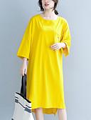 abordables Robes-Femme Mi-long Courte Robe Vert Orange Jaune L XL Demi Manches