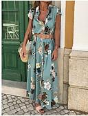 זול סטים של ביגוד לבנות-צווארון V מקסי שמלה נדן רזה כותנה בגדי ריקוד נשים