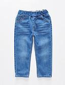 Недорогие Мужские брюки и шорты-Дети Мальчики Классический Уличный стиль Однотонный Хлопок Джинсы Синий