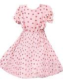 preiswerte Kleider für Mädchen-Kinder Mädchen Aktiv Süß Punkt Rüsche Gefaltet Kurzarm Knielang Polyester Kleid Rosa