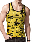 hesapli Erkek Tişörtleri ve Atletleri-Erkek Yuvarlak Yaka Kısa Paltolar 3D AB / ABD Beden Sarı