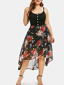 abordables Robes Grandes Tailles-Femme Basique Asymétrique Gaine Robe Couleur Pleine Fleur Noir Orange Rose Claire XXXL XXXXL XXXXXL Sans Manches