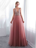 cheap Evening Dresses-A-Line Plunging Neck Sweep / Brush Train Chiffon / Tulle Open Back Formal Evening Dress with Beading / Crystals by LAN TING Express