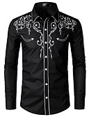 cheap Men's Shirts-Men's Shirt - Solid Colored Embroidered Black L