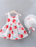 זול שמלות לתינוקות-שמלה מעל הברך ללא שרוולים פפיון / דפוס גיאומטרי בסיסי בנות תִינוֹק / פעוטות