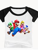 billige T-skjorter til damer-Barn Baby Gutt Grunnleggende Trykt mønster Trykt mønster Kortermet Bomull T-skjorte Svart