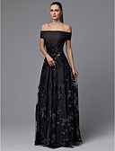 cheap Evening Dresses-A-Line Off Shoulder Floor Length Satin / Tulle Prom Dress with Lace Insert by TS Couture®