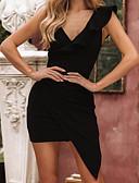 abordables Mini Robes-Femme Chic de Rue Elégant Asymétrique Moulante Robe - A Volants Mosaïque, Couleur Pleine Vert Noir M L XL Sans Manches