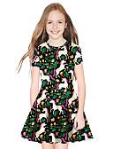 זול שמלות לבנות-שמלה מעל הברך שרוולים קצרים גיאומטרי בנות ילדים