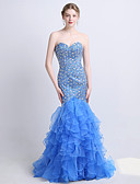 cheap Evening Dresses-Mermaid / Trumpet Strapless Sweep / Brush Train Tulle / Sequined Dress with Beading / Sequin / Crystals by LAN TING Express