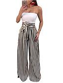 cheap Women's T-shirts-Women's Street chic Plus Size Wide Leg / Chinos Pants - Striped Blue & White / Black & White, Stripe / Patchwork / Print High Waist Gold Black Red XXXL XXXXL XXXXXL
