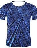 hesapli Erkek Tişörtleri ve Atletleri-Erkek Pamuklu Yuvarlak Yaka Tişört Desen, Geometrik / 3D / Grafik İfade / Art Deco / Retro Büyük Bedenler Havuz