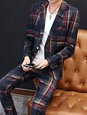 preiswerte Anzüge-Rot / Grün Gestreift Schlanke Passform Polyester Anzug - Fallendes Revers Einreiher - 1 Knopf
