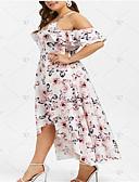 זול שמלות במידות גדולות-מידי שכבות מרובות קפלים דפוס, גיאומטרי - שמלה סווינג אלגנטית בגדי ריקוד נשים