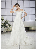 cheap Wedding Dresses-A-Line Off Shoulder Court Train Lace / Tulle Made-To-Measure Wedding Dresses with Appliques / Lace by ANGELAG