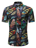 levne Pánské košile-Pánské - Květinový / Barevné bloky Základní / Cikánský Větší velikosti Košile, Tisk Bavlna Stojáček Štíhlý Černá XL