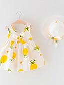 abordables Jupes pour Bébés-bébé Fille Bohème Fruit Imprimé Sans Manches Au dessus du genou Coton Robe Jaune / Bébé
