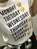 hesapli Tişört-Kadın's Tişört Desen, Geometrik Beyaz