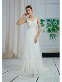 povoljno Vjenčanice-A-kroj Ovalni izrez Srednji šlep Čipka / Til Izrađene su mjere za vjenčanja s Perlica / Aplikacije / Čipka po ANGELAG