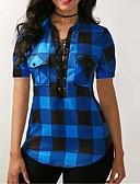رخيصةأون قمصان نسائية-نسائي محاك بربطات / بقع / طباعة قميص, شيك V رقبة نحيل