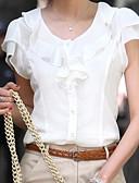 abordables Chemises Femme-Chemisier Grandes Tailles Femme, Couleur Pleine Blanche