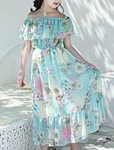 זול שמלות לבנות-שמלה מקסי שרוולים קצרים פפיון / קפלים צמחים / פרחוני פרפר / חִנָנִית מתוק / בוהו בנות ילדים