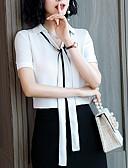 abordables Robes Femme-Chemisier Femme, Couleur Pleine Col de Chemise Mince Blanc XL