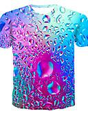 رخيصةأون تيشيرتات وتانك توب رجالي-رجالي تيشرت رقبة دائرية طباعة ألوان متناوبة / 3D / الرسم أزرق XXXXL