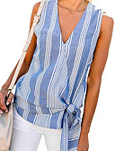 cheap Cocktail Dresses-Women's Tank Top - Striped V Neck Blue XL