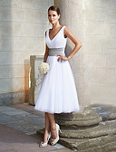 cheap Wedding Dresses-A-Line V Neck Tea Length Chiffon Dress with Sash / Ribbon by LAN TING Express
