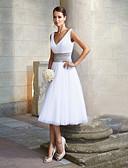 preiswerte Abendkleider-A-Linie V-Ausschnitt Tee-Länge Chiffon Kleid mit Schärpe / Band durch LAN TING Express