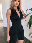 זול סרבלים ואוברולים לנשים-M L XL טלאים אחיד, Rompers ישר שחור בסיסי / סגנון סיני בגדי ריקוד נשים