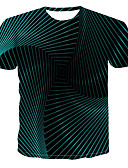 cheap Men's Tees & Tank Tops-Men's Casual Street Punk & Gothic Cotton T-shirt - Geometric / 3D Print Round Neck Green / Short Sleeve