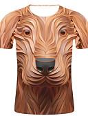 hesapli Erkek Tişörtleri ve Atletleri-Erkek Pamuklu Yuvarlak Yaka Tişört Desen, Çizgili / 3D / Hayvan Sokak Şıklığı / Abartılı Büyük Bedenler Kahverengi XXL