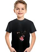 abordables Conjuntos de Ropa para Niño-Niños Bebé Chico Activo Básico Estampado Estampado Manga Corta Poliéster Licra Camiseta Negro
