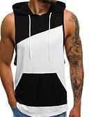 billige T-shirts og undertrøjer til herrer-Hætte Herre - Farveblok Patchwork EU / US størrelse Tank Tops Sort M
